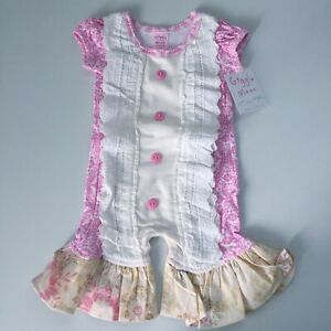 09b4b2c6325 GIGGLE MOON NWT Size 3M Throne Room Romper Outfit Pink Ivory Ruffles ...
