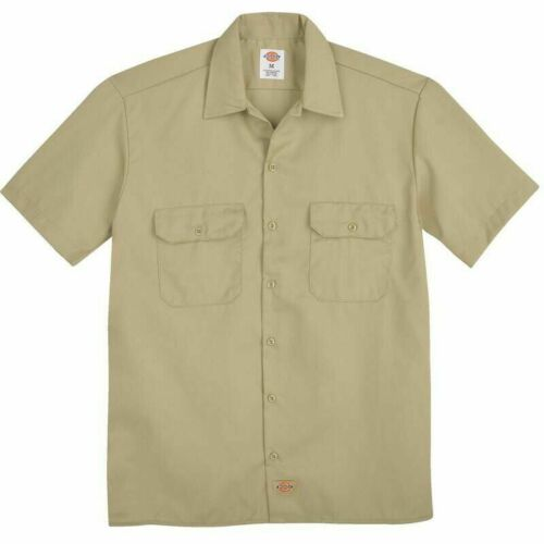 Dickies Boys Twill Short Sleeve Shirt Desert Sand Khaki Size S-6//8
