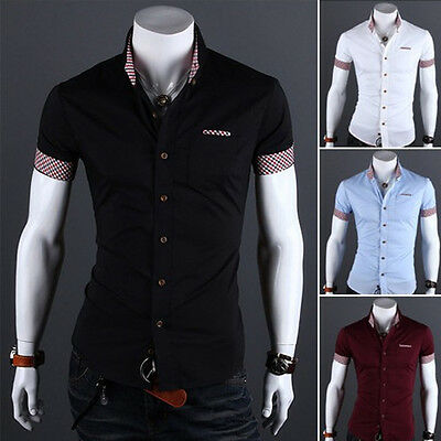 Mens Luxury Casual Slim fit Stylish Dress Short Sleeve Shirt 4 Colors 4 Sizes