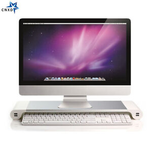 Aluminum-Alloy-Laptop-iMac-Monitor-Stand-Space-Bar-Dock-Desk-Riser-4-USB-Ports