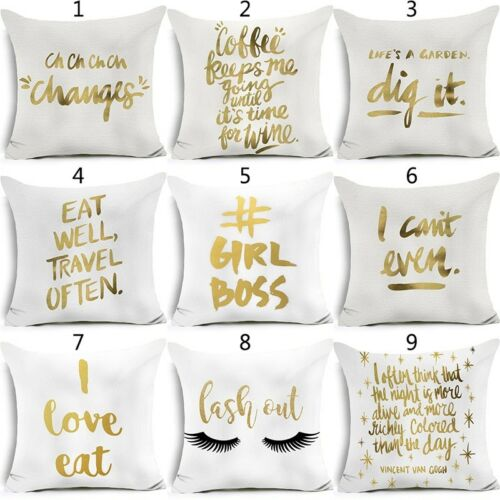 "18/"" Polyester Gold Letters Throw Pillow Case Sofa Car Cushion Cover Home Decor"