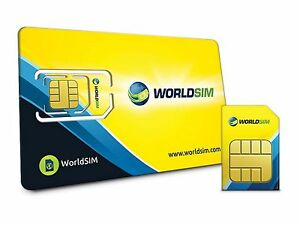 Worldsim International Carte SIM-y compris £ 10 Crédit 							 							</span>