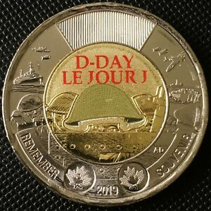 2019-Canada-75th-Anniversary-of-D-Day-2-Dollar-Toonie-Coin-Colored-Version-UNC