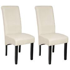 Lot de 2 chaises de salle à manger chaise meuble creme 105cm bois