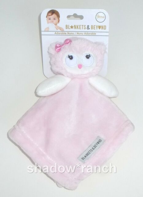 Blankets /& Beyond Pink White Baby Elephant Owl Security Blanket Lovey Nunu NWT