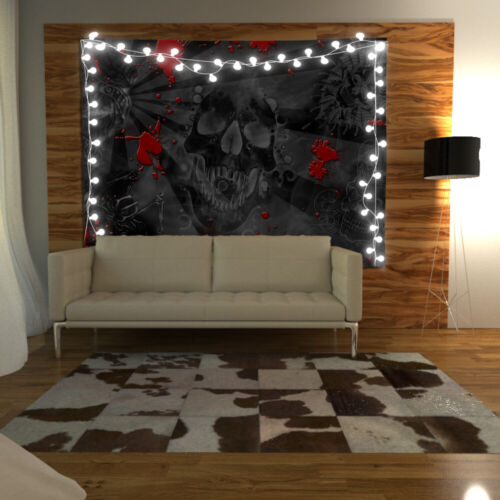 Skull Blood Wandteppich Kunst Wandbehang Tisch Bettdecke Wohnkultur