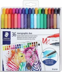 Staedtler 36 Marsgraphic Duo Double-ended Watercolor Brush Markers ... 0acae34a1d
