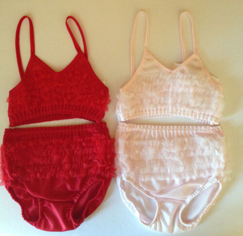 LAURA DARE Ruffle Cami and Panty Set Blush Pink Red Sizes 2T-6X FANCY