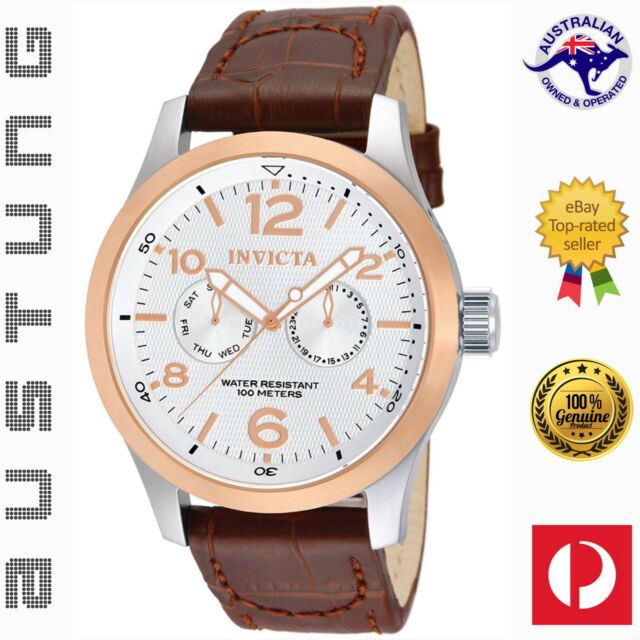 Invicta Men's 13010 I-Force Stainless Steel Genuine Leather Band Watch
