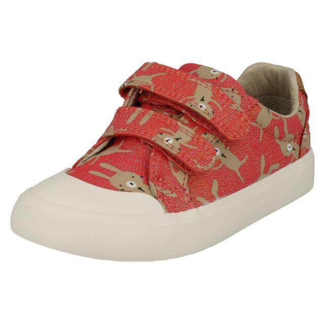5d030a5d9fe Girls Clarks Canvas Shoes Style - Comic Cool Coral Combi UK 10 ...