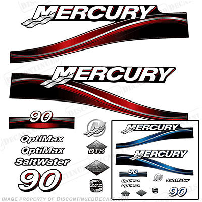 Mercury 2007-2012 90hp Optimax Decal Kit Outboard Engine Decals