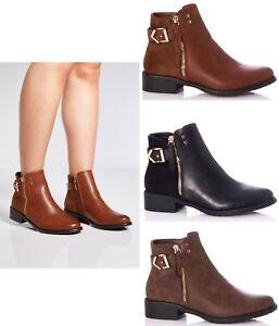 comprar online b858c 8e4ea Detalles de Mujer Botines Chelsea Tacón bajo Cremallera sin Cierres Zapatos  Talla 3-8