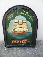 Cartello Insegna Cargo to all ports trapper's dipinto a mano legno abete