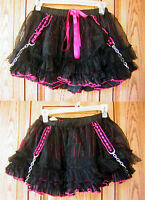 Tripp Floral Lace Black Pink Chain Strap Layered Tutu Skirt Cosplay Hot Topic H