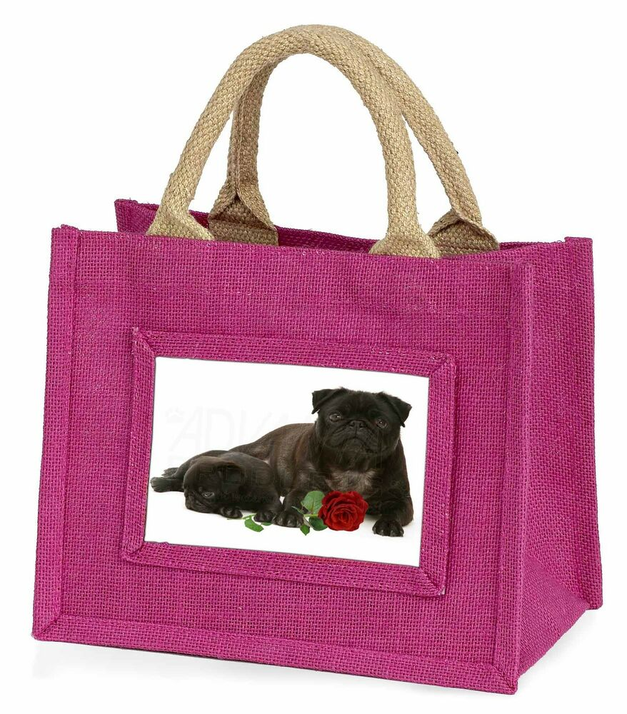 Utile Black Pug Dogs With Red Rose Little Girls Small Pink Shopping Bag Ch, Ad-p91rbmp Une Grande VariéTé De ModèLes