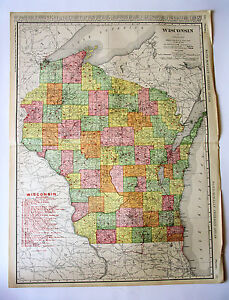 Wisconsin vintage antique 1907 rand mcnally railroad folio world image is loading wisconsin vintage antique 1907 rand mcnally railroad folio gumiabroncs Images