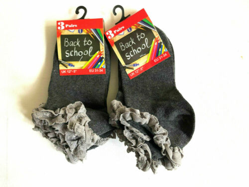 Girls School Socks Girls Back To School Socks 6 Pair Girls Lace Frill Socks New