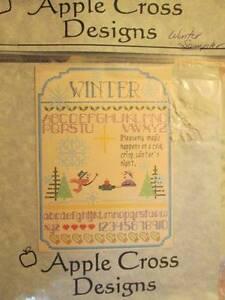Winter-Sampler-Cross-Stitch-CHART-Apple-Cross-Designs-98x133-Stitches