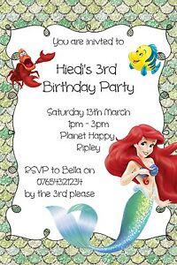 Image Is Loading Personalised The Little Mermaid Birthday Invitations Inc Envelopes
