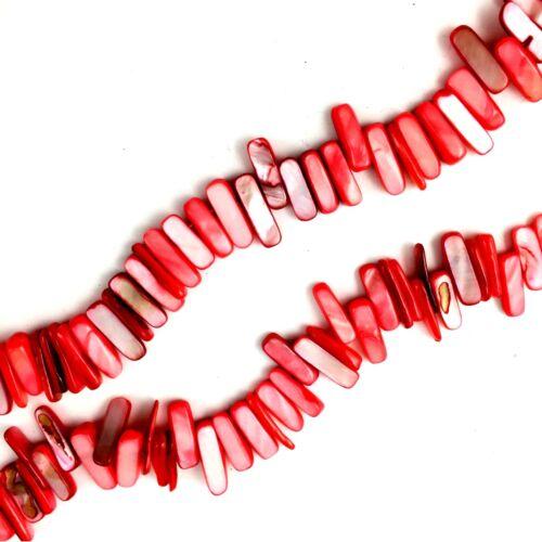 "16/"" Rouge Shell 14-20 mm Tusk Stick Perles Fabrication de Bijoux"