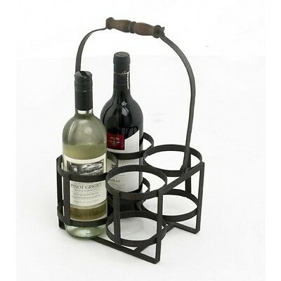 Natural Wrought Iron 4 Bottle Wine Carrier / Holder With Wooden Handle
