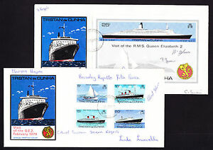 TWO-Tristan-Da-Cunha-covers-Visit-of-the-QE2-Ship-February-1979-Islander-Signed