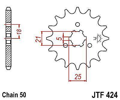 JT Front Drive Sprocket JTF424 16t fits Suzuki GT550 K,L,M 72-75