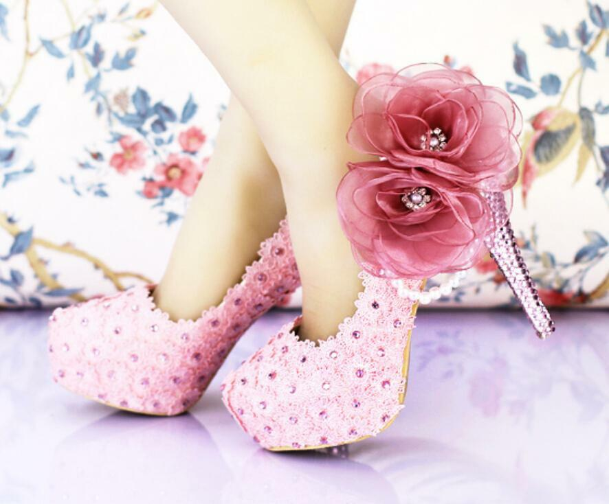 Women Flowers shoes Pearls Rhinestone Pumps Wedding Bridal High Heel Stilettos X