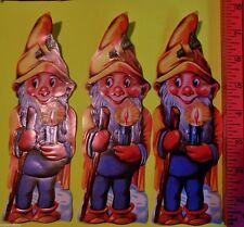 """Vintage Die Cut 3 SWISS Scrap Paper Glanzbilder Oblaten-Gnomes Elves Elf 8"""" Tall"""