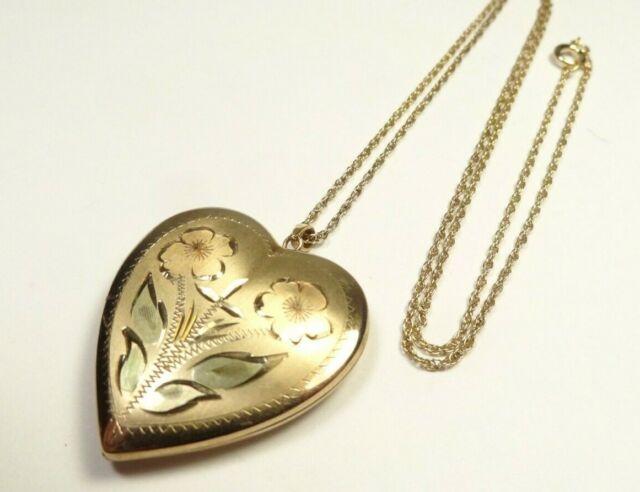 VINTAGE FLORAL ETCHED HEART LOCKET 2 PHOTOS 14k GF GOLD FILLED PENDANT