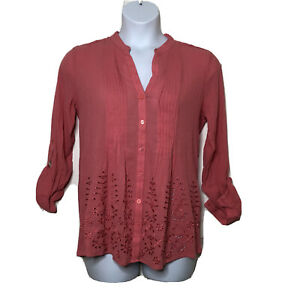 Soft-Surroundings-M-Embroidered-Gauze-Textured-Button-up-Coral-Shirt-Cotton