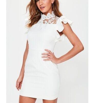 MISSGUIDED Women/'s White High Neck Frill Short Sleeve Bodycon Dress M70//54