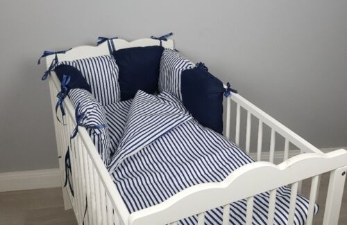 CASES navy stripes white blue 8 pc cot //cot bed bedding sets PILLOW BUMPER