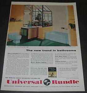 Print Ad 1956 Universal Rundle Bathroom Fixture  PLUMBING Home Decor Skylight