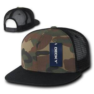 DECKY-Camouflage-FLAT-Bill-Trucker-Hat-6-Panel-Mesh-Snapback-Hats-Camo-Army-Cap