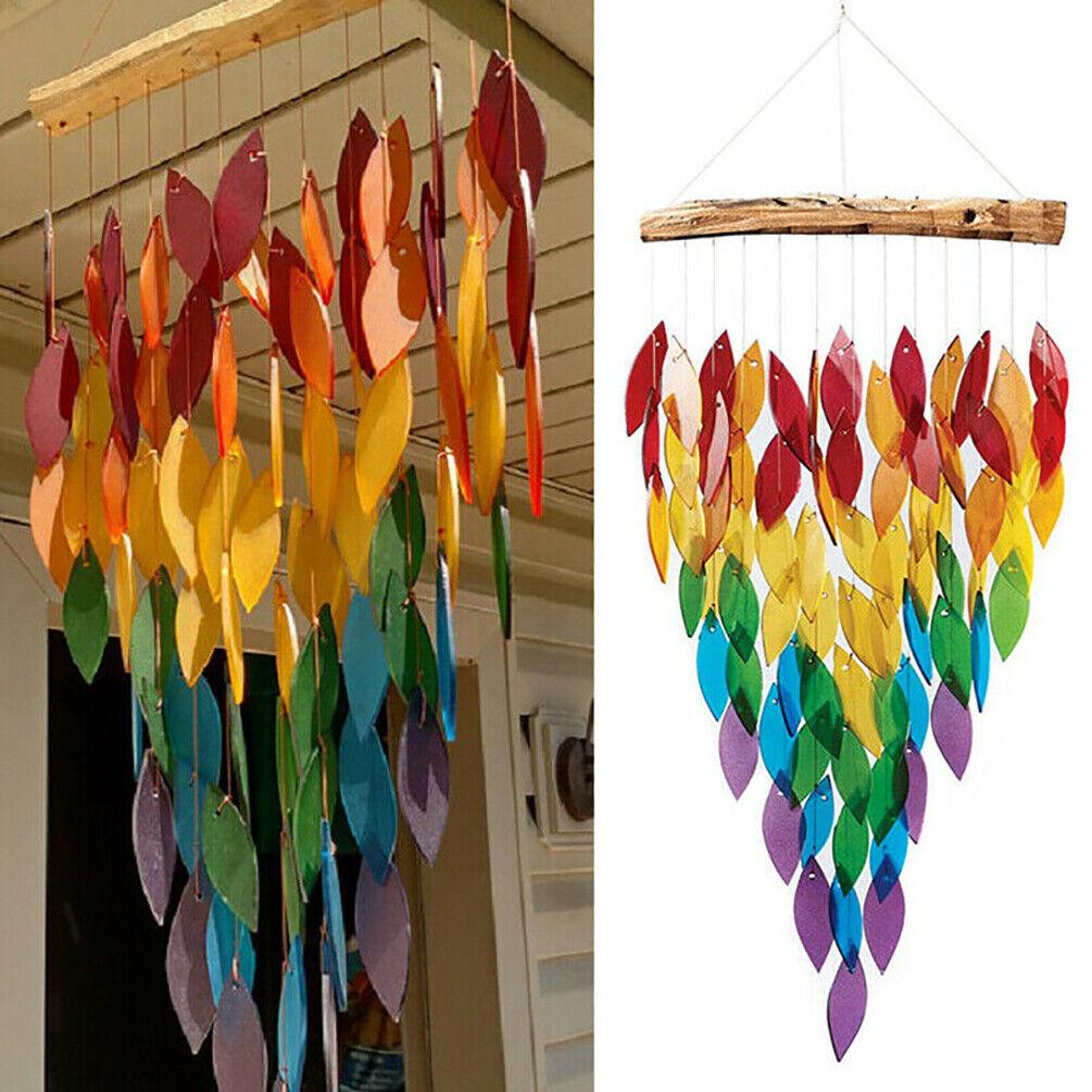 1PC Multicolor Rainbow Wind Chime Maples Leaf Shape Garden Ornament Home Decor