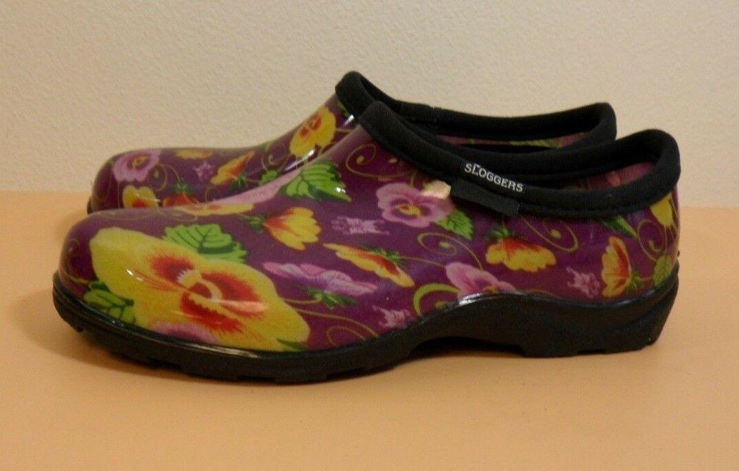 Sloggers Size 6 Purple Women's Pansy Prints Waterproof Comfort shoes Garden