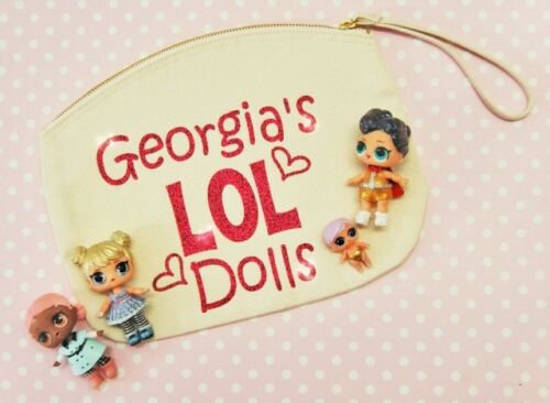 Personalised LOL Surprise Doll Pet Sister Storage Carry Bag with Handle Glitter