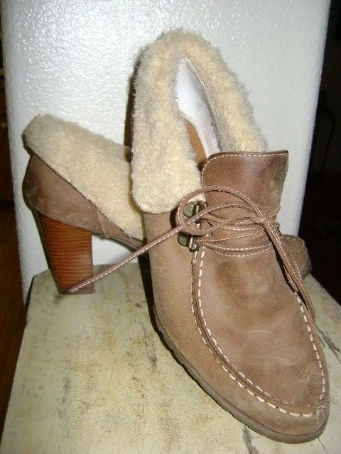 Audrey Brooke Leather Boot Ankle Heels Roxy2 Womens Sz 11M Tan Faux Fur