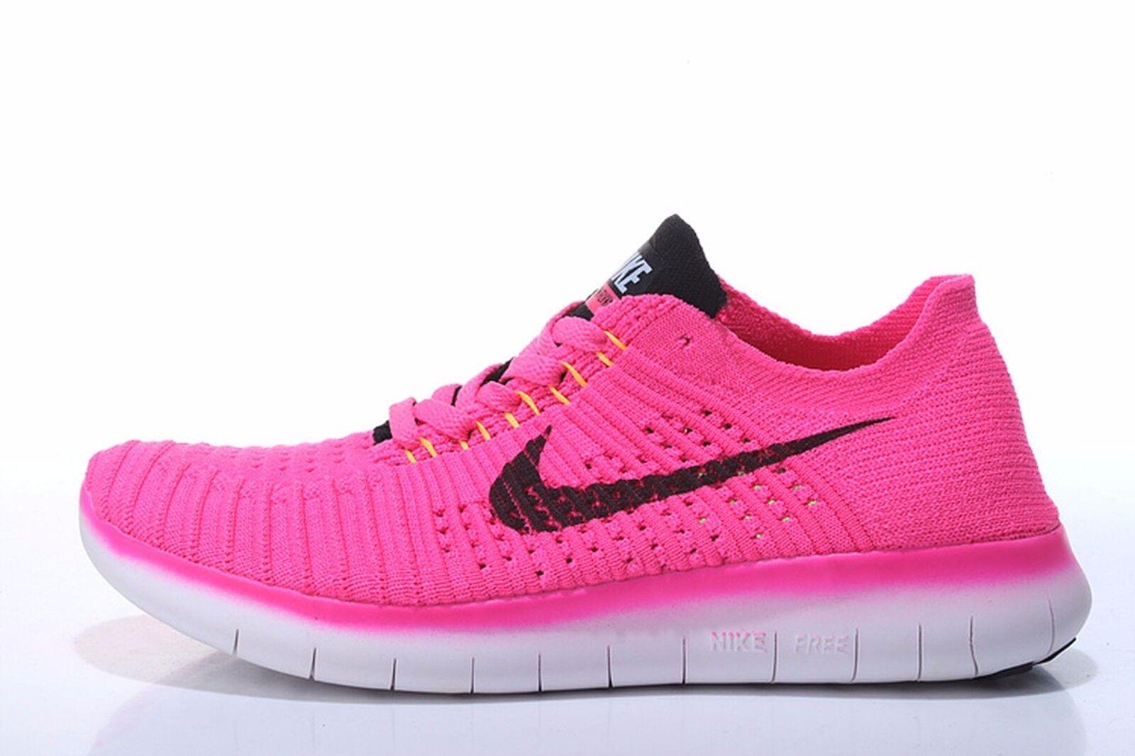 Nike Free RN Flyknit 831070 600 Wmn Sz 7 Pink Blast Black-Laser orange-Hyper Pun