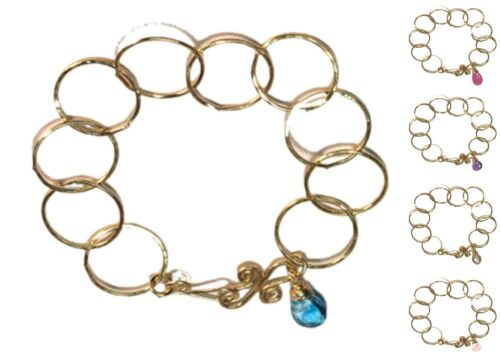 Boracay 05 ~Hammered Large Link Chain Bracelet with Stone /& Metal Choice