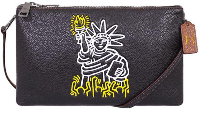 d94c684a9d8b Coach X Keith Haring Pebbled Leather Lyla Black Clutch Crossbody Bag F11771