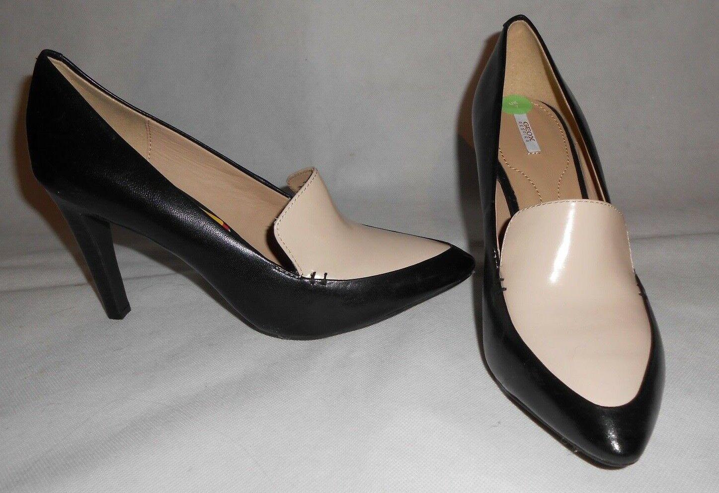 New Geox noir & beige leather chaussures UK7 EU41