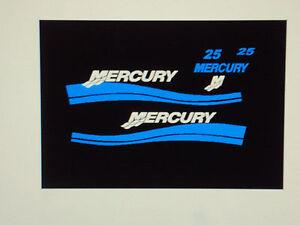 Mercury outboard 25 hp decal custom light blue marine for Custom outboard motor decals