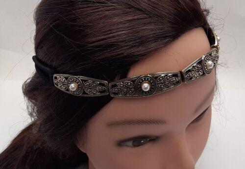 Linked Gold-tone metal filigree plates Pearl beads elastic Headband DD6C-16//22