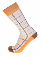 Steven Land Mens White With Gold & Brown Check Cotton Dress Socks on sale