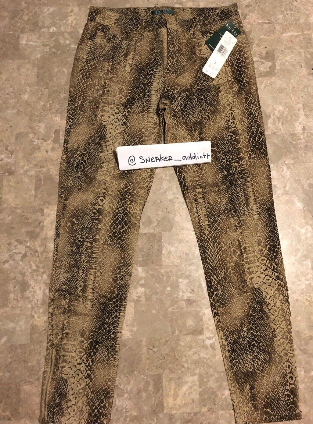 Lauren Ralph Lauren Brown Snakeskin Print Pants Woman's Sz 6 Brand New Jeans