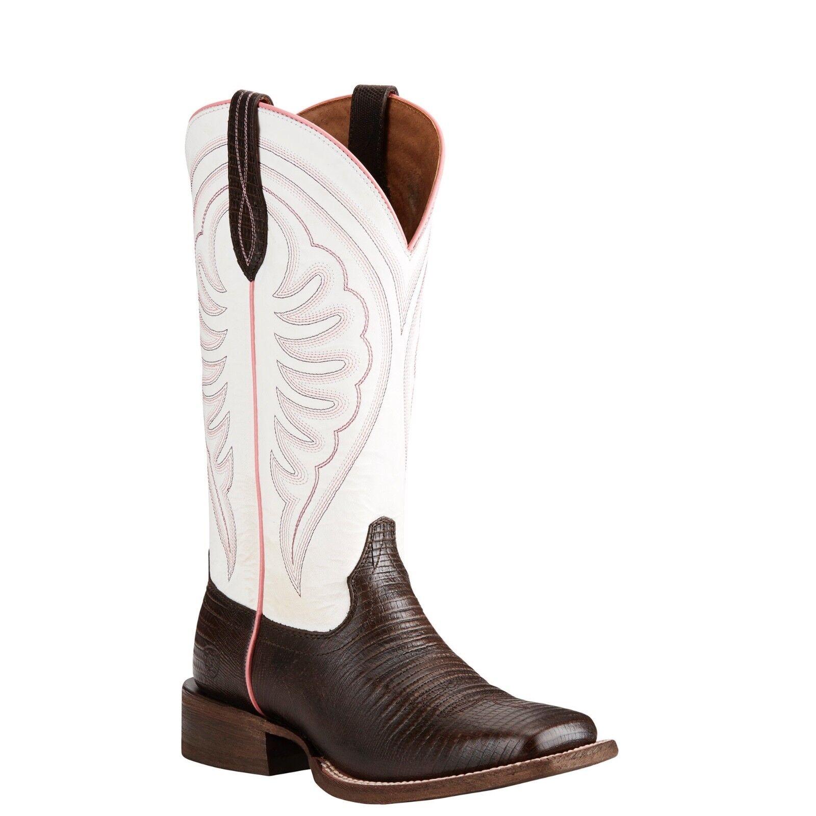 Ariat® Ladies Circuit Shiloh Brown Lizard Print & White Boots 10021611
