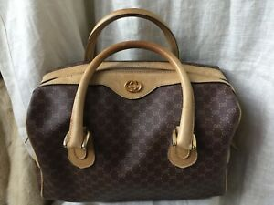 3d8e8122066d78 GUCCI Italy GG Monogram Boston Bag VINTAGE AUTHENTIC Rare Find Brown ...