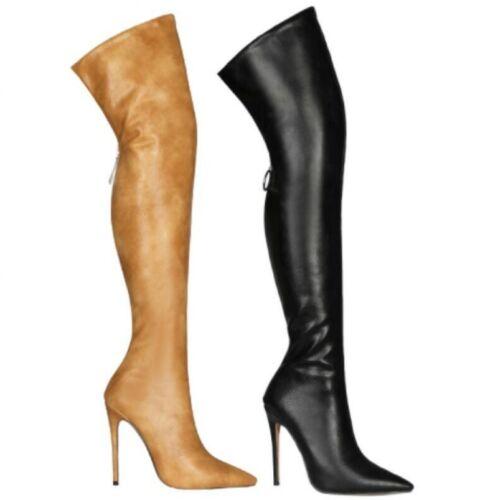 Femmes Arrière Fermeture Éclair au-dessus Du Genou Bottes hautes à Bout Pointu toe Stilettos Talons Hauts Chaussures L